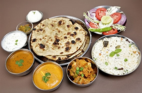 Indian Thali Roti and Rice